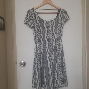 Grey and white print A-line stretch dress